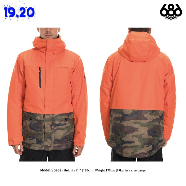 1920 686 MSN ANTHEM INSULATED JACKET - Solar Orange (686 앤섬 인슐레이트 스노우보드복 자켓) L9W125SLR